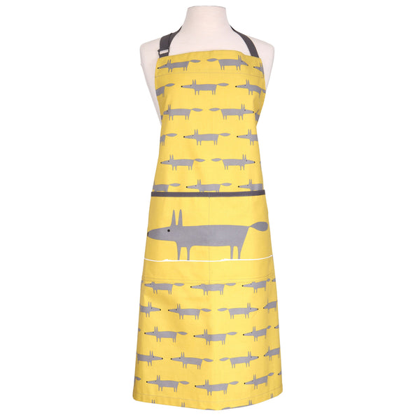 Scion Mr Fox Charcoal & Yellow Cotton Kitchen Apron