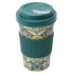 Dexam Morris & Co Strawberry Thief Teal Bamboo Travel Mug Reusable Cup