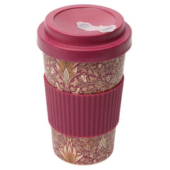 Dexam Morris & Co Snakeshead Claret Red Bamboo Travel Mug Reusable Cup