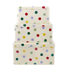 Elite Tins Emma Bridgewater Polka Dot Set of 3 Square Cake Tins
