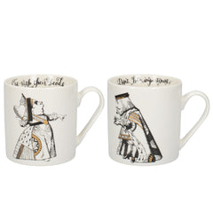 V&A Alice in Wonderland Gold Queen & King of Hearts Gift Boxed Mug Set