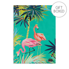 My Gifts Trade Sara Miller Tahiti Flamingo Gift Boxed Cotton Tea Towel