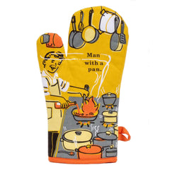 Blue Q Man With A Pan Retro Super-Insulated Cotton Oven Mitt