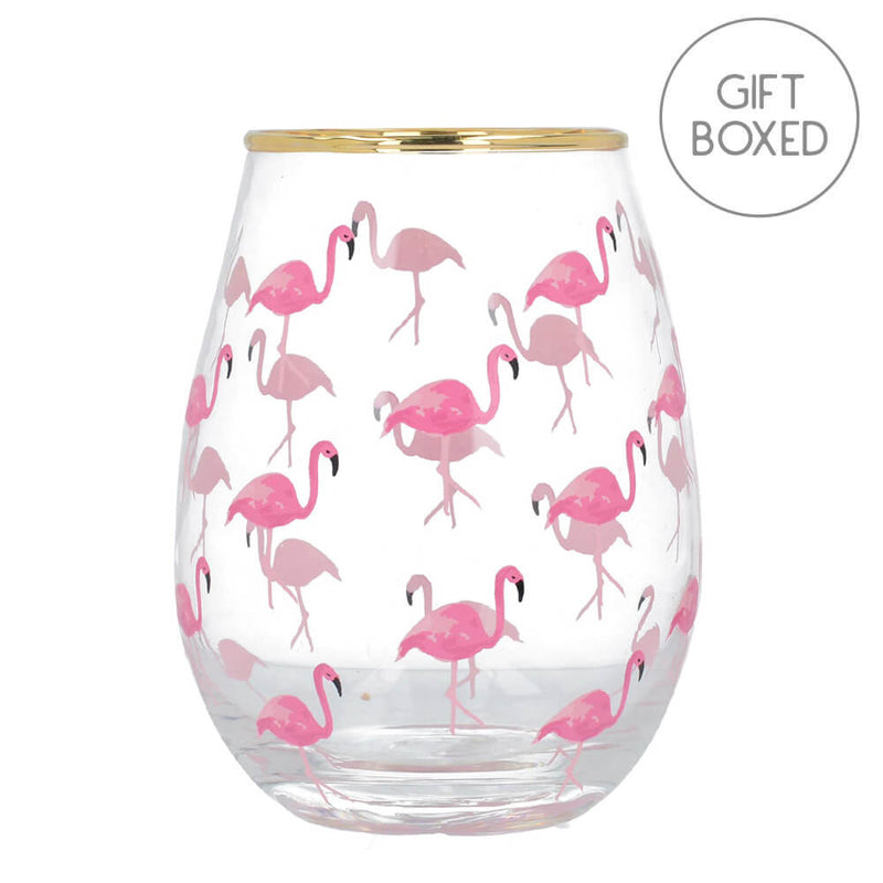 Creative Tops Ava & I Pink Flamingos Stemless Wine Glass Gift Boxed