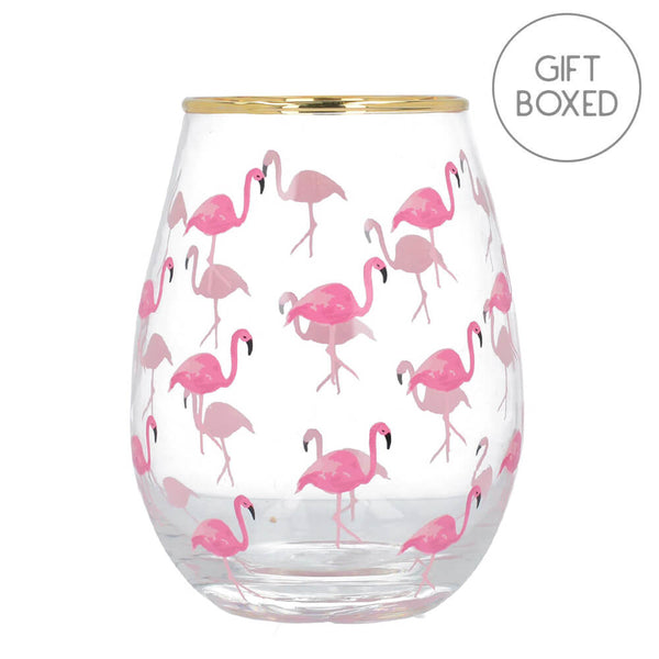 Ava & I Flamingos Stemless Wine Glass
