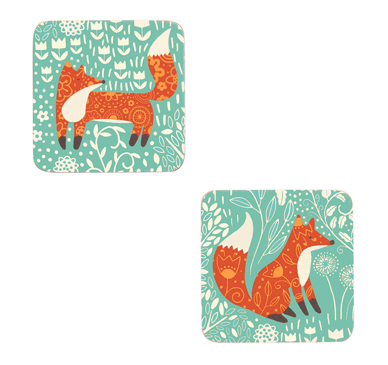 Ulster Weavers Foraging Fox Aqua Blue Cork Coaster Set of 4