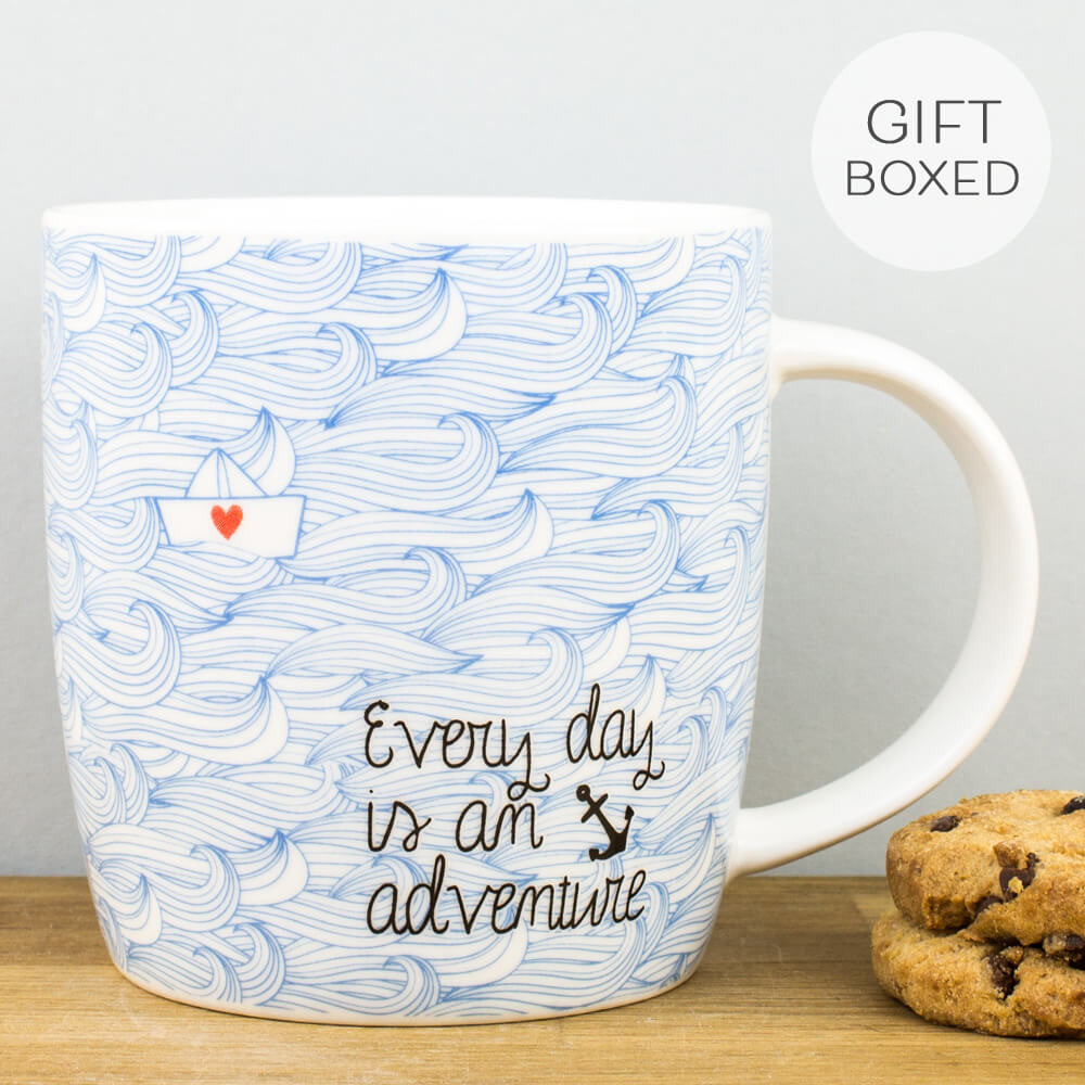 Legami Every Day is an Adventure Bone China Personalised Gift Box Mug