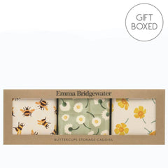 Elite Tins Emma Bridgewater Buttercups Set of 3 Square Storage Caddies