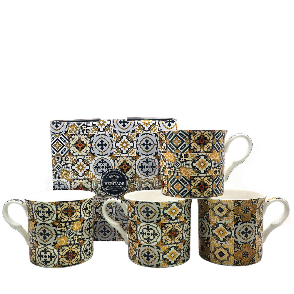 Heritage Black Azulejo Tiles Gold Mug Set of 4 Bone China Coffee Cups