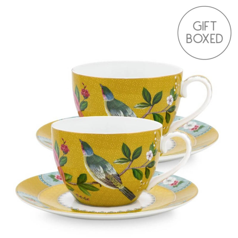 Pip Studio Blushing Birds Yellow Gift Boxed Tea Cup & Saucer Set of 2