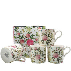 Heritage Butterfly Rose Floral Set of 4 Mugs Fine Bone China Cups