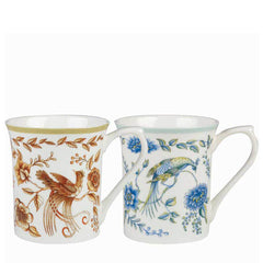 Churchill Hidden World Peacock Floral Pattern Fine Bone China Mug Set