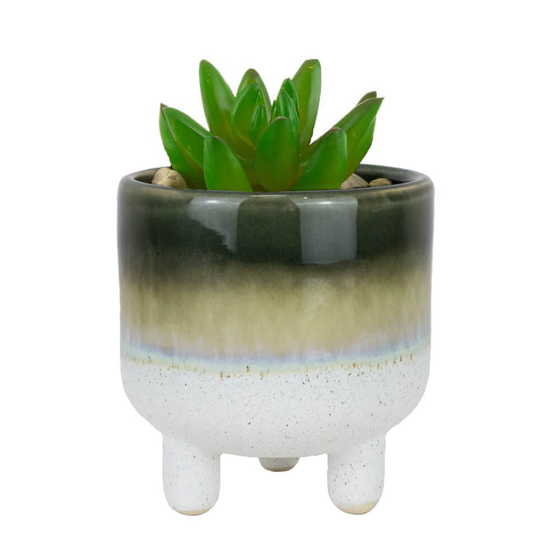 Sass & Belle Mojave Glaze Gloss Dark Green Stoneware Mini Planter