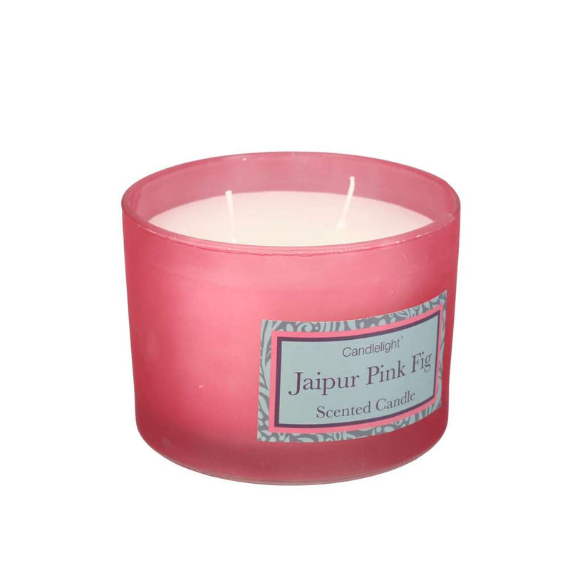 Candlelight Two Wick Glass Scented 30 Hour Candle - Jaipur Pink Fig
