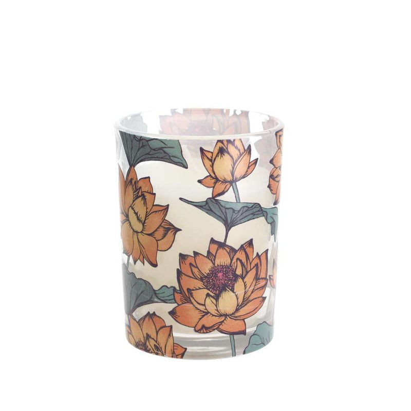 Candlelight Patterned Glass Flower Scented 28 Hr Candle - Thai Lotus