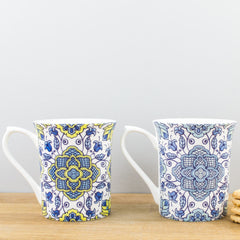 Hidden World Portugal Blue Fine Bone China Two Mug Gift Set Cups