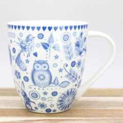 Churchill China Penzance Owl Pattern Blue Crush Fine China Mug 500ml