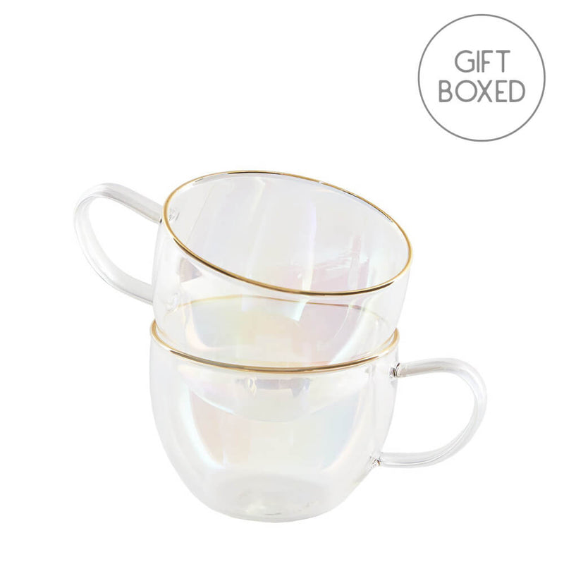 Root7 Rainbow Glass Teacup Set Gift Boxed Set of 2 Glass Cups