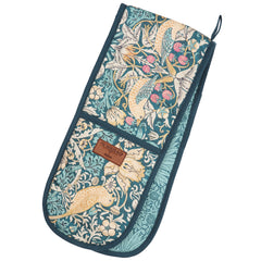 Dexam Morris & Co Strawberry Thief Teal Cotton Double Oven Glove