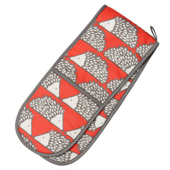 Dexam Scion Spike Hedgehog Print Red Cotton Double Oven Glove