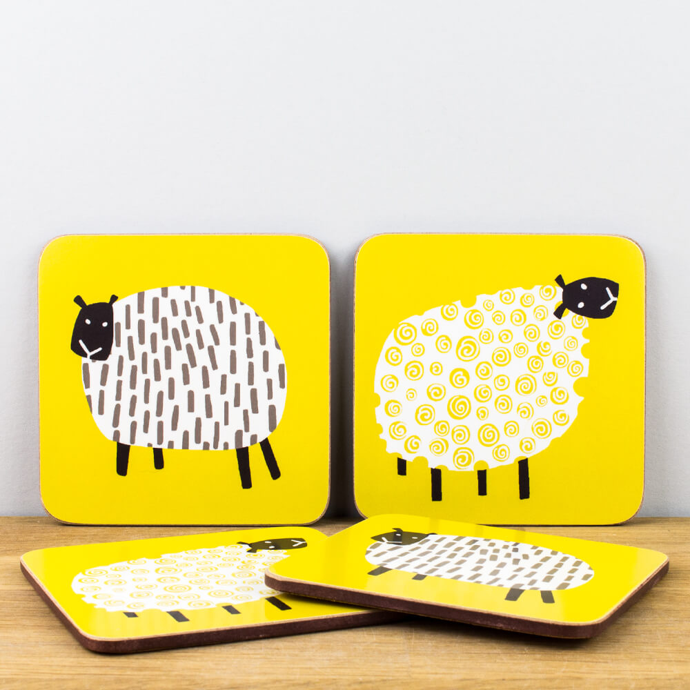 Ulster Weavers Dotty Sheep Mustard Yellow Cork Coaster Set of 4