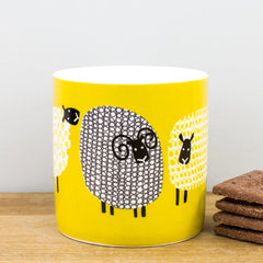 Ulster Weavers Dotty Sheep Mustard Yellow China Gift Boxed Coffee Cup