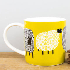 Ulster Weavers Dotty Sheep Mustard Yellow China Personalised Gift Mug