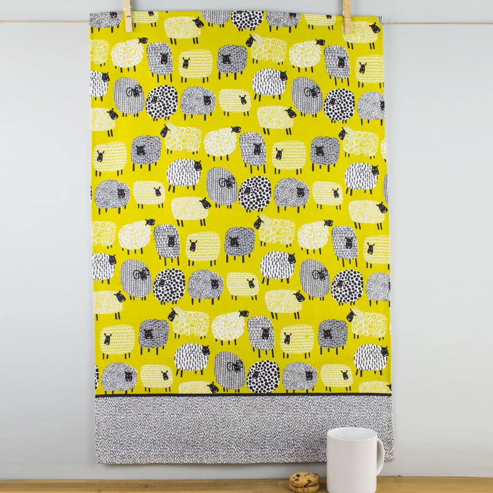 Ulster Weavers Cats in Waiting 100% Linen Tea Towel Kitty Cats ThemedUlster Weavers Dotty Sheep Mustard Yellow Patterned Cotton Tea Towel