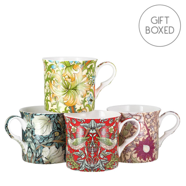 Heritage William Morris Rose Mug Set of 4 Fine Bone China Cups