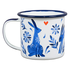 Wild & Wolf Folklore Fox & Hare Enamel Coffee Mug Gift Set of Two Cups