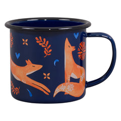 Wild & Wolf Folklore Fox Enamel Mug 325ml Dark Blue Coffee Cup