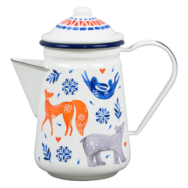 Folklore Sunrise Enamel Coffee Pot