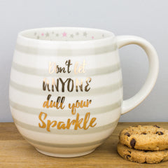Gold & Stripes Don't Dull Your Sparkle Ceramic Mug by Creative Tops