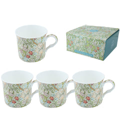 Heritage William Morris Golden Lily Mug Set of 4 Fine Bone China Cups