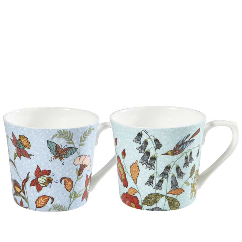 Hidden World Floral Japan Fine Bone China Two Mug Gift Set Coffee Cups