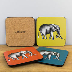 Churchill China Harlequin Savanna Elephant Cork Coaster Set of 4