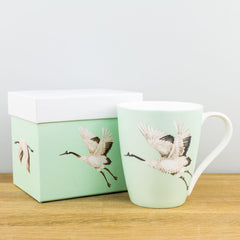 Churchill China Palmetto Cranes Emerald Fine Bone China Gift Boxed Mug