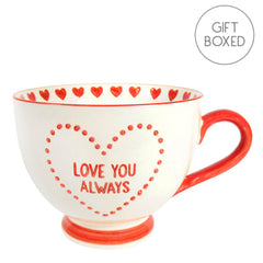 Sass & Belle Love You Always Red Hand-Stamped Creamic Footed Mug