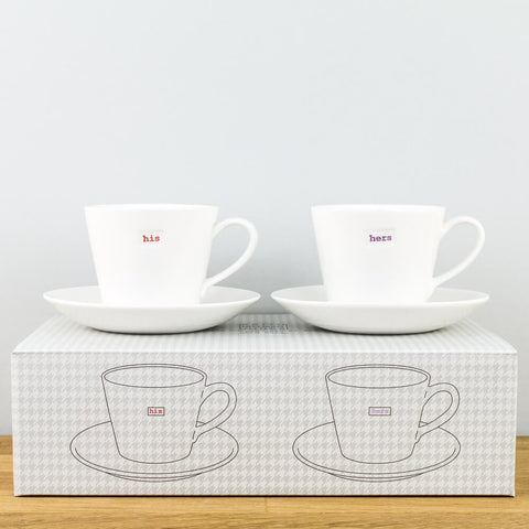 His & Hers Espresso Cup & Saucer Set by Keith Brymer Jones
