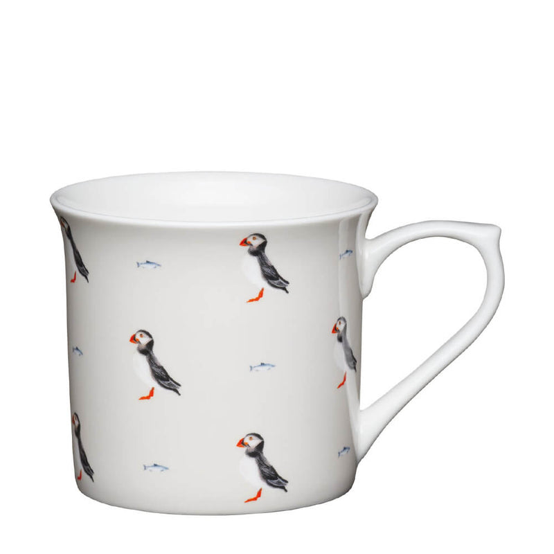 KitchenCraft Mugs & Kisses Fluted Puffin Stone Fine Bone China Mug