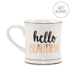 Metallic Gold Hello Beautiful Ceramic Gift Boxed Mug by Sass & Belle