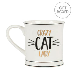 Metallic Gold Crazy Cat Lady Ceramic Gift Boxed Mug by Sass & Belle
