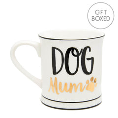 Black & Metallic Gold Dog Mum Ceramic Gift Boxed Mug by Sass & Belle