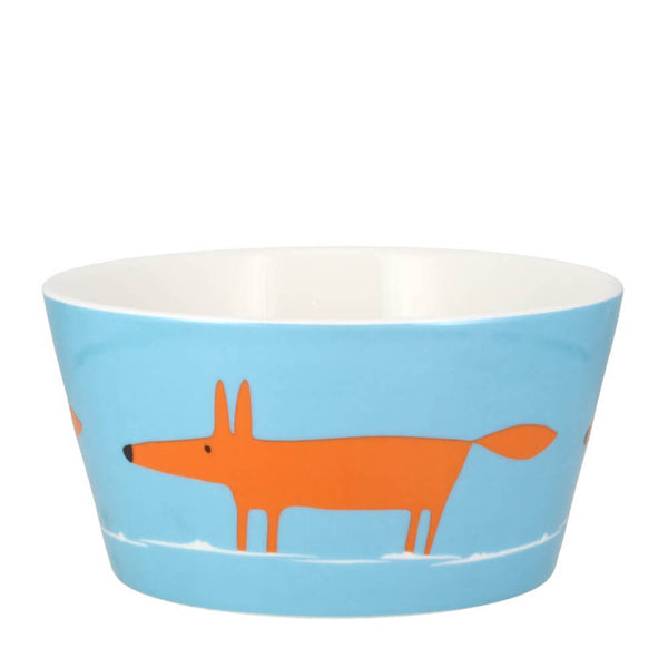 MAKE Int Scion Mr Fox Duckegg Blue & Orange Fine China Breakfast Bowl