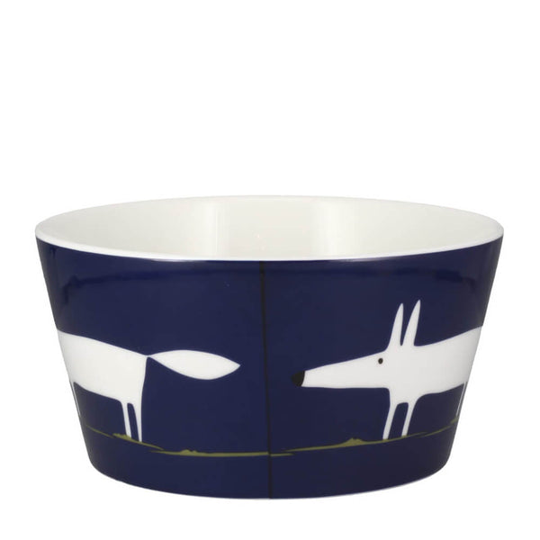 MAKE Int Scion Mr Fox Dark Indigo Blue Fine China Breakfast Bowl