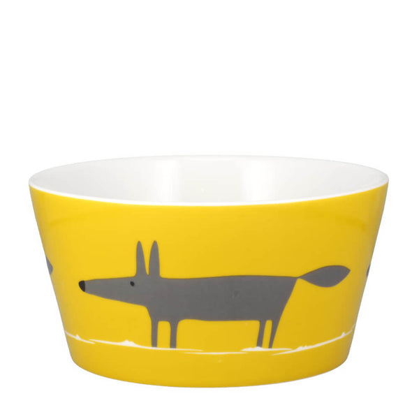 MAKE Int Scion Mr Fox Yellow & Charcoal Fine China Breakfast Bowl