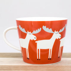 Scion Marty Moose Pimento Red & Ice White Festive Fine China Mug