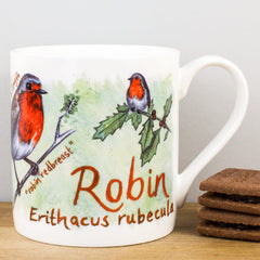 McLaggan Robin Bird by Ginger Bee Festive China Personalised Gift Mug