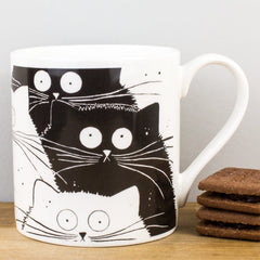 McLaggan Smith Flash Mog Black & White Cats Bone China Gift Mug