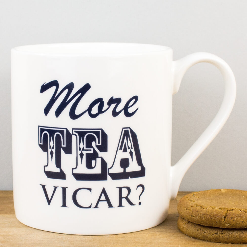 McLaggan Smith Mugs More Tea Vicar Bone China Personalised Gift Mug